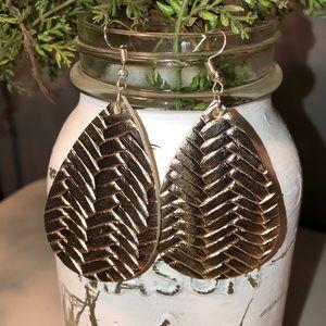 Gold Lattice Print Teardrop Earrings